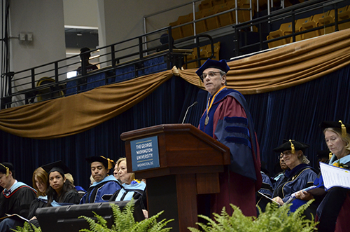 Micheal Feuer, the dean of the Graduate School of Education and Human Development, spoke at the 2015 graduation celebration. Katie Causey | Photo Editor