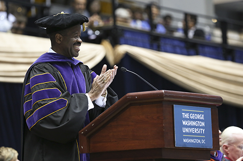 GW Law School Dean Blake Morant congratulates graduates and their families. Dan Rich | Contributing Photo Editor