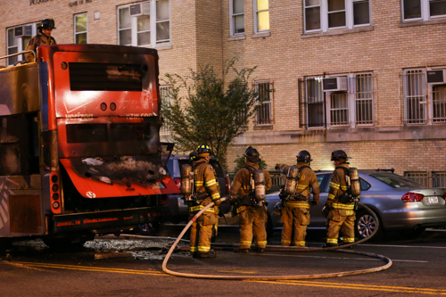 D.C. Fire and EMS responded to a bus fire on 23rd Street on Thursday. Dan Rich | Contributing Photo Editor