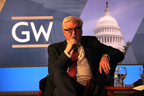 The German Minister of Foreign Affairs Frank-Walter Steinmeier spoke about U..S.-German relationships in Jack Morton Auditorium Tuesday. Charlie Lee | Hatchet Staff Photographer
