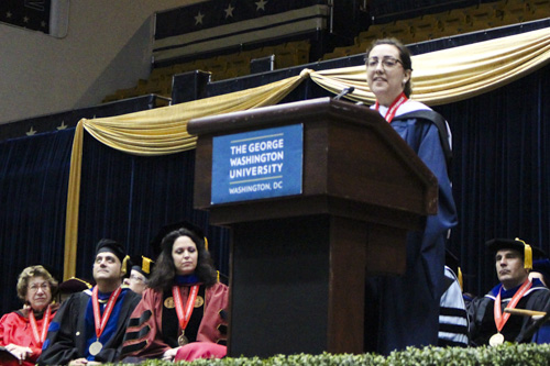 Amanda Figueroa, a student speaker, addressed doctoral and master's students from the Columbian College of Arts and Sciences during a ceremony Friday. Blair Guild   Hatchet Staff Photographer