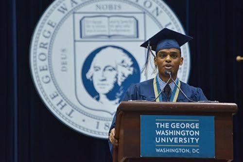 Tywan Wade, the student speaker at the business school's ceremony, encouraged fellow graduates to XX. Ashley Le   Hatchet Photographer