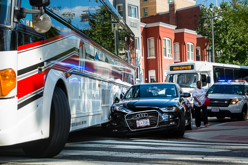 Police blocked traffic near Funger Hall for about two hours because of a car crash Monday afternoon. Sam Hardgrove | Assistant Photo Editor