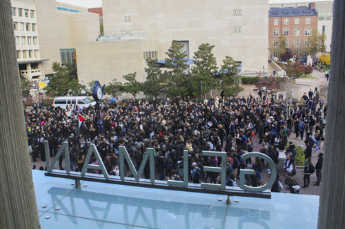 Nearly 400 members of The George Washington University community descended into Kogan Plaza last semester in protest of President-elect Donald Trump's proposed policies. Hatchet file photo by Alyssa Bogosian | Hatchet Staff Photographer