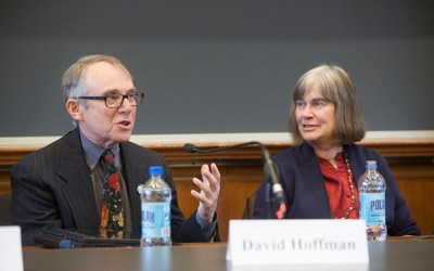 """David Hoffman and Jacqueline Olds joined a panel of experts at the Law School on """"Negotiating Love: Interpersonal Negotiation and Romantic Relationships,"""" offering such advice as have a joint bank account, don't start using negotiation skills too early in a relationship, and never make assumptions."""