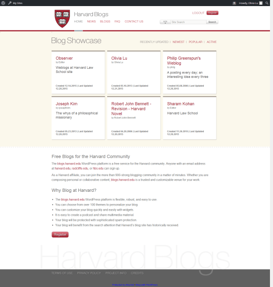 Weblogs at Harvard