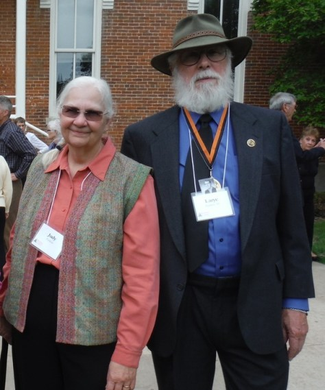 50-yearclass reunion, Wartburg College: Judy in her hand-woven hand-sewn vest, Larye in his $20 thrift-shop suit, bought at the last minute when we realized we would take part in the commencement ceremonies.
