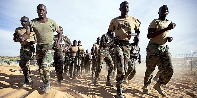 Senegalese peacekeepers with the African Union-United Nations Hybrid Operation in Darfur (UNAMID) train at their team site in Um Baro, North Darfur, Sudan Photo Credit: UN Photo via Flickr (http://bit.ly/29Vo6cF) CC BY-NC-ND 2.0