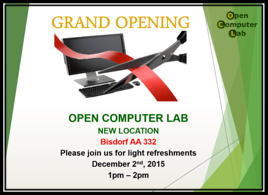 Grand Opening-Open Computber Lab