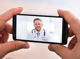 Talking to a doctor on mobile phone