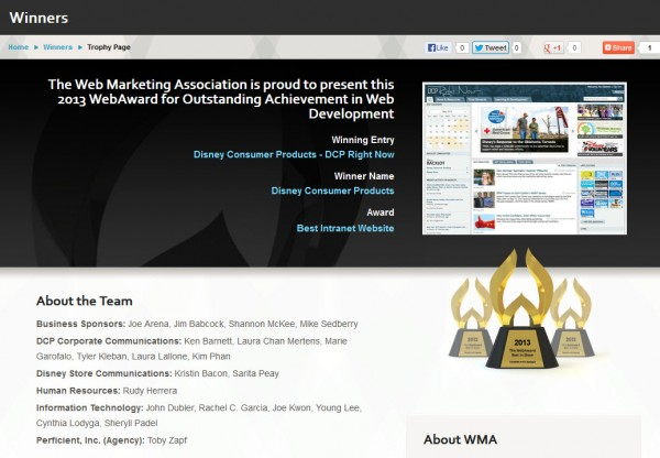 web award Disney