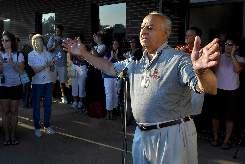 FRED ZWICKY/JOURNAL STARIn 2007, former Mayor Jim Maloof fires up the runners during a rally as the St. Jude runners leave for Memphis. Families and friends send off more than 150 runners departing for the St. Jude Memphis-to-Peoria Run