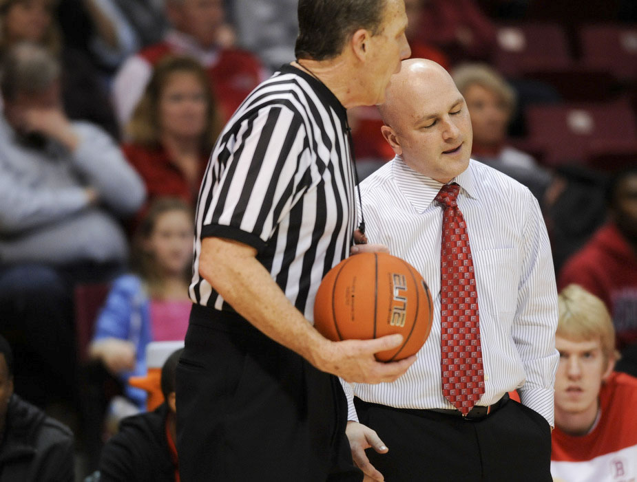 RON JOHNSON/JOURNAL STAR  Bradley coach Geno Ford gets the bad news on a call during Wednesday's game with ISU.