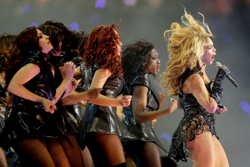 Beyonce performs during the halftime show of  the NFL Super Bowl XLVII football game between the San Francisco 49ers and the Baltimore Ravens, Sunday, Feb. 3, 2013, in New Orleans. (AP Photo/Dave Martin)