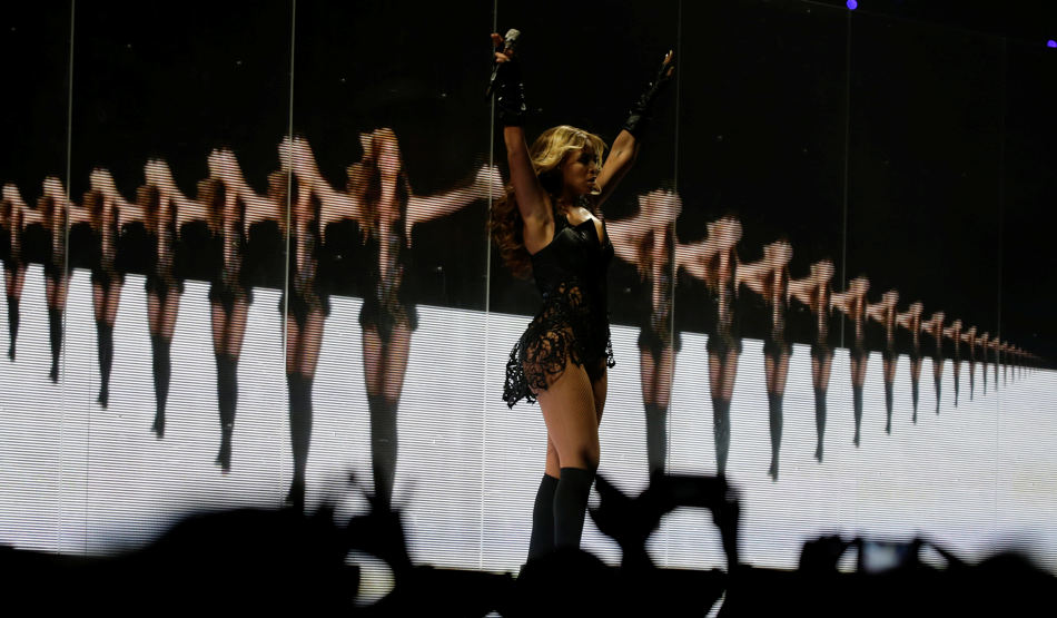 Beyonce performs during the halftime show of NFL Super Bowl XLVII football game between the San Francisco 49ers and the Baltimore Ravens Sunday, Feb. 3, 2013, in New Orleans. (AP Photo/Matt Slocum)