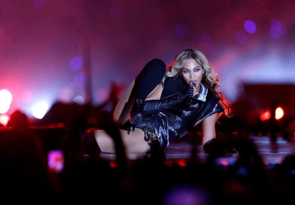Beyonce performs during the halftime show of  the NFL Super Bowl XLVII football game between the San Francisco 49ers and the Baltimore Ravens Sunday, Feb. 3, 2013, in New Orleans. (AP Photo/David Goldman)