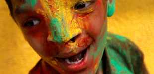 Eye-popping colors mark the Indian festival of Holi