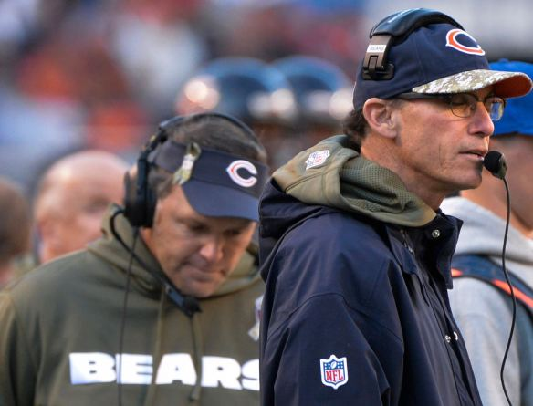 RON JOHNSON/JOURNAL STAR  Bears head coach Marc Trestman, right, reacts after a turnover in Sunday's game with the Lions.