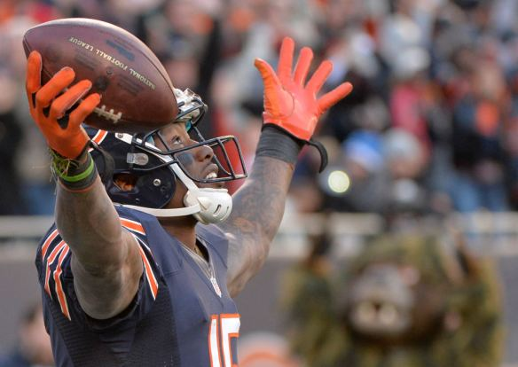 RON JOHNSON/JOURNAL STAR  Bears receiver Brandon Marshall celebrates a touchdown during Sunday's game.