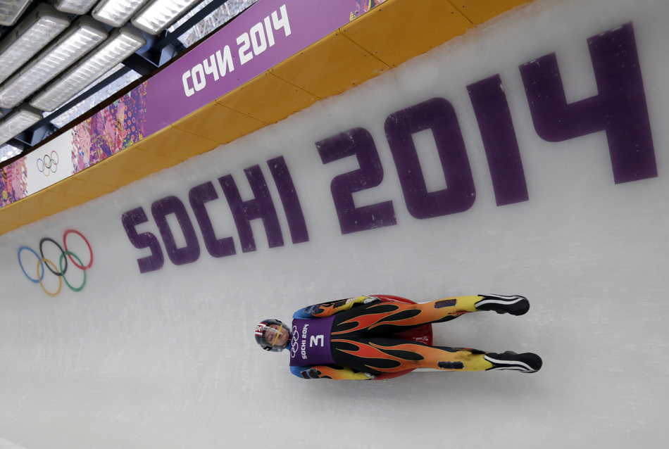 Kate Hansen of the United States completes a training run for the women's luge singles at the 2014 Winter Olympics, Tuesday, Feb. 4, 2014, in Krasnaya Polyana, Russia. (AP Photo/Michael Sohn)