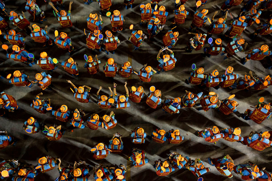Performers from the Grande Rio samba school parade through the Sambadrome during carnival celebrations in Rio de Janeiro, Brazil, Sunday, March 2, 2014. (AP Photo/Felipe Dana)