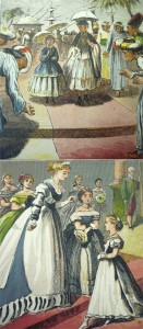 """Most ills. present Violet as """"a walking doll,"""" as when she amazes the """"Hindoos,"""" who bow in homage, or receives a locket from the Empress. Perhaps Fanny's child's imagination is the transformative force?"""