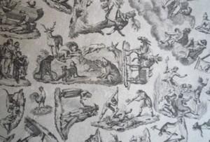 Detail showing arrangement of various scenes.
