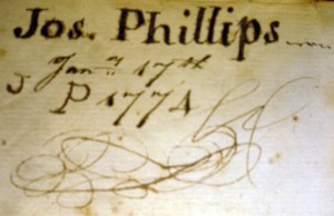 Inscription, dated Jan1774, in Christmas box, which suggests a 1774 terminal date