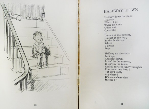 """Pages 80-81, """"Edward Bear"""" can be seen at the top of the stairs; while a very familiar boy sits on the stairs. (Cotsen 10411)"""