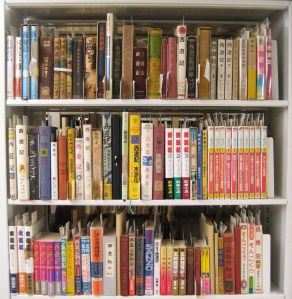 Shelves and shelves of Monkey King stories or editions and adaptations of Journey to the West in the Cotsen Children's Library. Photo taken from Cotsen's Japanese section.