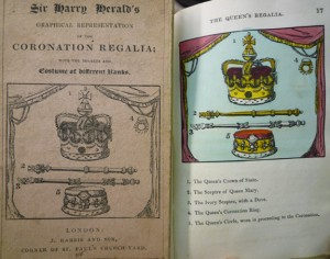 """Front wrapper of 1824 (4th) ed. (left), recycling the 1820 ed. ill., here untitled, of the """"Queen's Regalia"""" colored engraving. (right)"""