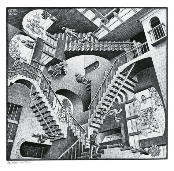 Relativity, by MC Escher