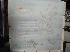 One of the silk pieces Judy will be transforming into a wall hanging beofre our eyes today!