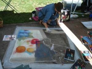 JN Garrett is making beautiful progress on her chalk piece, too...