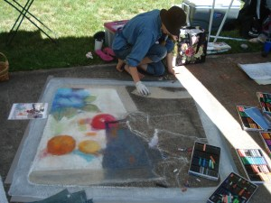 JN Garrett is making beautiful progress on her chalk piece, too...