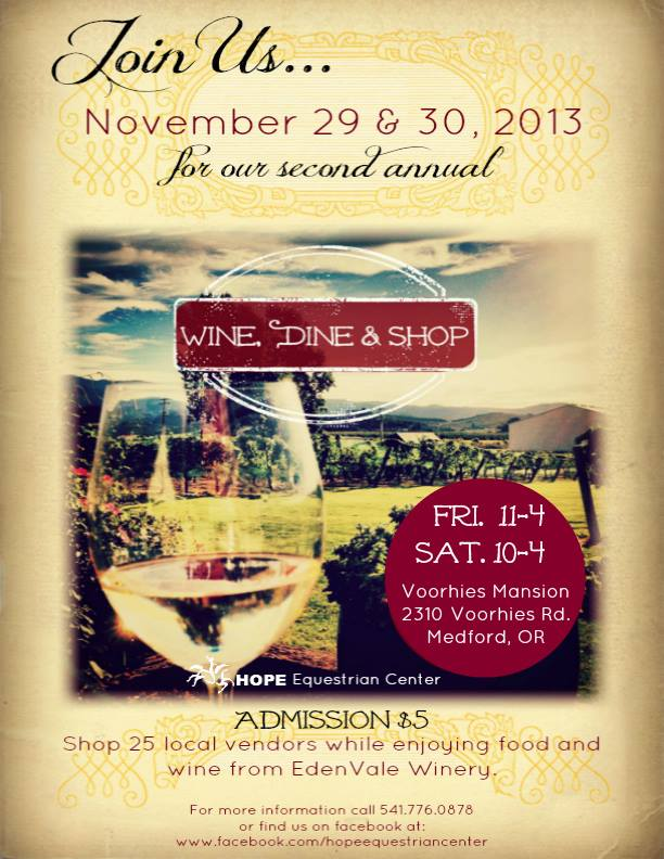 Flywer for Wine, Dine and Shop Holiday Event to benefit HOPE Equestrian Center