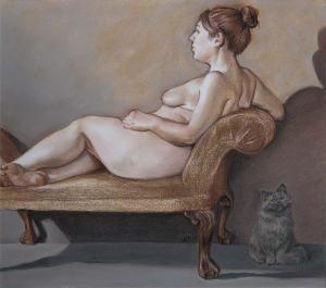 Ann DiSalvo, CAT TOTEM, 2014, pastel