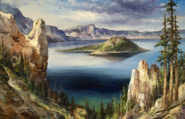 Crater Lake, original oil painting by Stefan Baumann