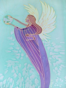 World Peace Angel, dye on silk by Judy Elliott of Dragonfly Designs West, Grants Pass, Oregon