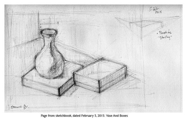 Drawing: Vase and boxes
