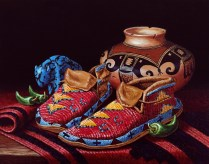 Moccasin Still Life, Acrylic still life painting with beaded moccasins, carved turquoise buffalo fetish, native American pottery and chile peppers, by artist Linda Cruz