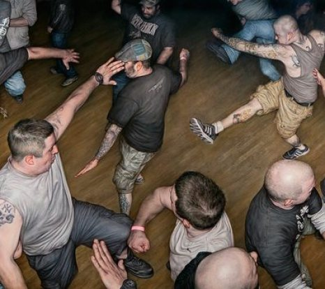 "Dan Witz, Agnostic Front Circle Pit, 48"" x 82"", oil and digital media, Jonathan Levine Gallery"