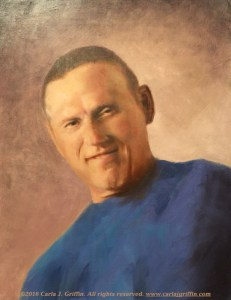 Bob Maass, oil painting portrait of a man by Carla J Griffin, Grants Pass, Oregon, painted by commission. This painting won a blue ribbon for Best Painting of the Year in a Southern Oregon Society of Artists juried critique in 2015.