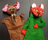 Hand puppets from Adventures of Zorba (the cat) and Koffie (the mouse), a children's show on WUMB circa 1970-1979
