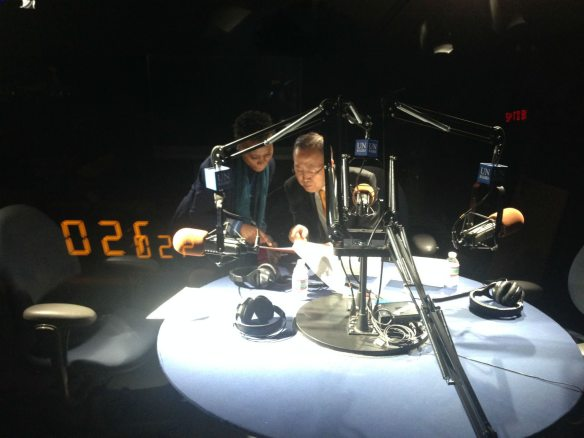 Secretary-General Ban Ki-moon recording a radio message in Sango.