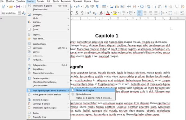 Note in LibreOffice