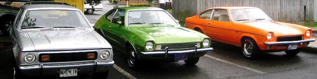 Photo of three cars: a Gremlin, Pinto and a Vega