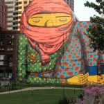 Odd art on a building along the Rose Kennedy Greenway