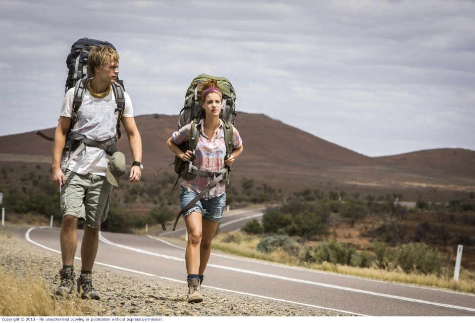 WolfCreek2_Shannon Ashlyn as Katarina and Phillipe Klaus as Rutger_on road hitchhicking 2