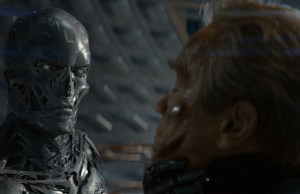 Left to right: Series T- Robot and Arnold Schwarzenegger plays the Terminator in Terminator Genisys from Paramount Pictures and Skydance Productions.